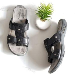 Merrell Cement Black Leather Slide Sandals
